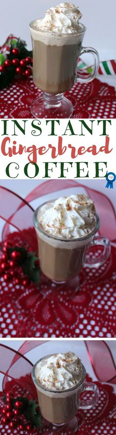I make this coffee when I have a craving for anything gingerbread. I top it with whipped cream, and add a light sprinkle of pumpkin pie spice. #christmas #christmasrecipes #gingerbread #coffeerecipes #coffee