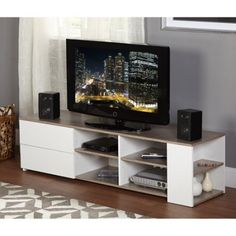 Free Shipping. Buy Urban TV Stand, White/Sonoma Oak at Walmart.com