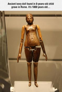 An Ancient Roman Articulated Doll Found in the Sarcophagus of a Mummy of an…
