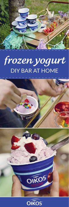 Make kid-friendly summer entertaining a breeze by taking inspiration from this At-Home Frozen Yogurt Bar! Giving your party guests their option of toppings to pair with their favorite flavor of frozen yogurt made from Dannon® Oikos® Single Serve Greek Yogurt means that everyone gets a dessert recipe they love. And by picking up all the ingredients and essentials you need at your local Walmart, prepping for the celebration couldn't be easier.
