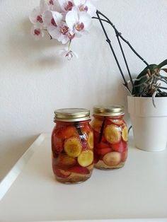 blomme-syltede Vand, Mason Jars, Glass Vase, Korn, Snacks, Victoria, Desserts, Marmalade, Tailgate Desserts