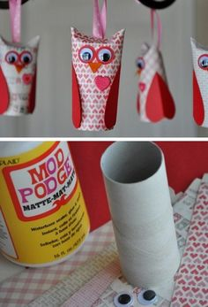 Valentine Paper Roll Owls | Click Pic for 26 DIY Valentines Day Crafts for Kids to Make | Easy Valentine Crafts for Toddlers to Make