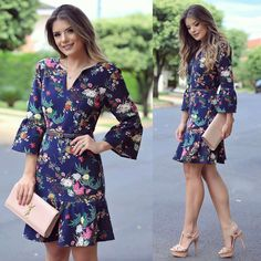 Dia de escolhas da @estilonanaminze por aqui! Fazendo os cliques da nova coleção e já postando meus favoritos! Vestido estampado com manga sino! Simple Dresses, Pretty Dresses, Beautiful Dresses, Casual Dresses, Short Dresses, Dress Outfits, Cool Outfits, Fashion Dresses, Western Dresses