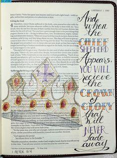1 Peter 5:4 Scripture Doodle, Scripture Art, Bible Art, Bible Scriptures, Bible Quotes, 1 Peter, Illustrated Words, Bible Study Journal, Jesus Saves