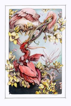 Artist Christina Mrozik closely observes flora and fauna to create hybrid drawings and paintings that unite the two in haunting new forms. Animal Art, Contemporary Watercolor, Illustration, Drawings, Nature Art, Fantastic Art, Original Drawing, Artwork, Bird Art