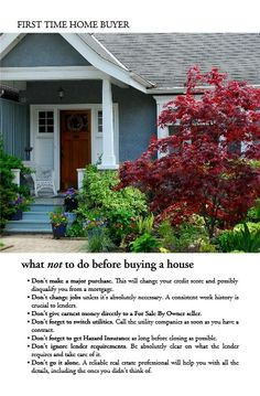 What not to do before buying a house. Lisa Fanucci-Dario, Realtor-Coldwell Banker Elite (540) 322-7377. www.fredericksburgvahomesforsale.net