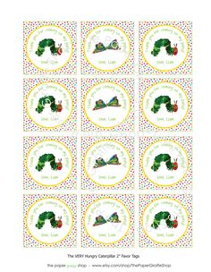 Custom Printable Rainbow Dots The VERY HUNGRY CATERPILLAR Birthday Party Favor Tags