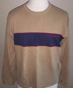 Men's Tommy Hilfiger Brown Red Blue Sweater XL Vintage? #TommyHilfiger #Crewneck