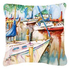 Caroline's Treasures Sailboats at the Gazebo Canvas Fabric Decorative Pillow Indoor Door Mats, Indoor Doors, Glass Cutting Board, Cutting Boards, Pillow Forms, Hot Pads, Outdoor Throw Pillows, Canvas Fabric, Canvas Material