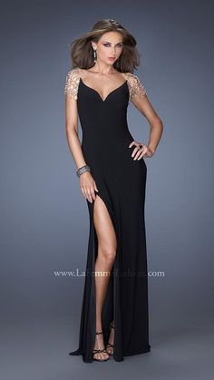 57f3b4f66ab Size 2 Black La Femme 20025 Crystal Chandelier Evening Dress- Watch the  ball drop in this elegant and sophisticated gown by La Femme. Order it  today from ...