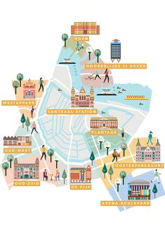 AMSTERDAM Neighbourhoods guide maps by Saskia Rasink. I like the detail within the houses/buildings and them still being able to appear more graphic than illustrative. Travel Maps, Travel Posters, Sistema Visual, Plan Ville, Amsterdam Map, Amsterdam Quotes, Campus Map, Travel Illustration, House Illustration