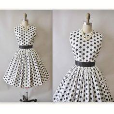 Reserved for Reham 50's Polka Dot Dress // Vintage 1950's Black & White Polka Dot Full Garden Party Dress XS. $68.00, via Etsy.