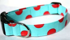 Dog Collar  Cherry Sky  Aqua and Red Polka Dots by CreatureCollars, $17.00