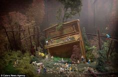 graeme webb - magical miniature scenes created by dolls house furniture inspired by dreams of his childhood when he played in bombed out houses from the Blitz in London