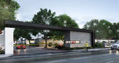 fraccionamientos modernos - Buscar con Google Entrance Design, Entrance Gates, Gate Design, Main Entrance, Facade Design, Architecture Images, Commercial Architecture, Gate City, Guard House