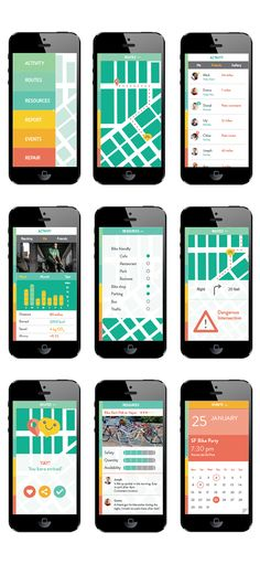 VeloCity: An app for the urban bike commuter. on AIGA Member Gallery  About: Mobile App Concept and Design Creation of a concept for a mobile app, considering audience and user interaction design wireframes and develop it further until the final look. Velocity is an app for urban bike commuters, it helps you calculate the best routes according to your preferences: bike lanes, avoiding hills or traffic, road conditions, etc. You can also keep track of your miles, calories burned or CO2 saved…