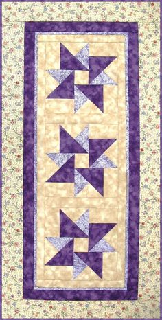 Table Runner Pattern, Wall Hanging Quilt Pattern - Twisted Star RGR-078e (electronic download)