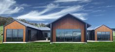 Unique & cleverly designed rural home with 3 separate wings that can be closed off from each other. Designed with striking black coloursteel cladding. Dream Home Design, Home Design Plans, House Design, Design Design, Modern Buildings, Modern Architecture, Acerage Homes, Cedar Cladding, Exterior Cladding