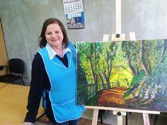 Elsa Contreras y su primer cuadro en el Taller... ¡felicitaciones!