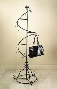 Black cast iron purse rack