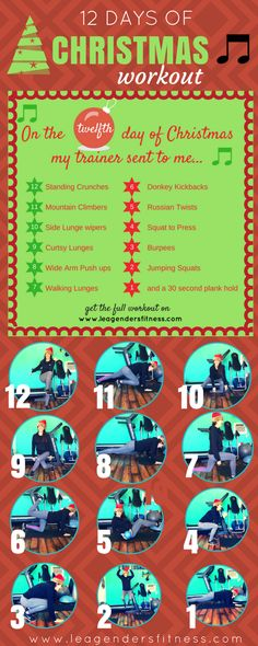 Try This 12 Days of Christmas Carol Workout — Lea Genders Fitness 3 Month Workout Plan, Workout Plan For Men, Weekly Workout Plans, Workout Plan For Beginners, Workout Challenge, Workout Ideas, Workout Abs, Fun Workouts, At Home Workouts