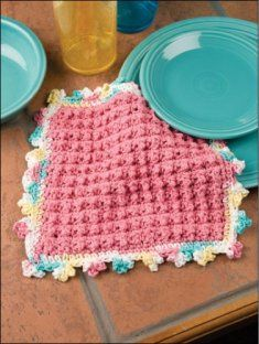 Make useful dishcloths for your kitchen or bathroom using these free crochet dishcloth patterns. This basic crochet project is a great stashbuster. - Page 1 Grannies Crochet, Bobble Crochet, Crochet Potholders, Bobble Stitch, Crochet Dishcloths, Crochet Yarn, Free Crochet, Chrochet, Crochet Kitchen