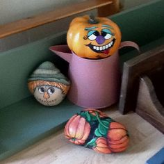 Painted rocks - the scarecrow's head and the pumpkins are lovely - the wonky jack-a-lantern... not so much! ~M x