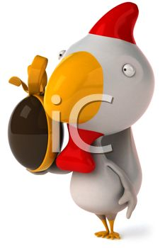 iCLIPART - Royalty Free Clipart Image of a Chicken With a Chocolate Easter Egg