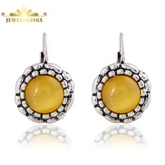 Vintage Manmade Yellow Opal Stone Earrings Round Sliver French Lever Back Craved Petals Antique Daisy Flower Earrings for Women