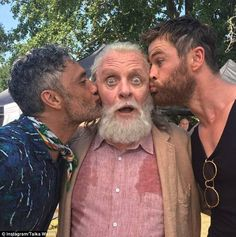 Sealed with a kiss: In a photo shared on Saturday, Chris Hemsworth andTaika Waititi kissed...
