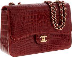 Chanel Shiny Red Crocodile Jumbo Single Flap Bag with Gold Hardware -- DEAR LORDDDDDDDDD