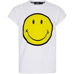 TOPMAN White Smiley Hi Roll T-Shirt (795 UYU) ❤ liked on Polyvore featuring mens, men's clothing, men's shirts, men's t-shirts, tops, men, shirts, t shirts and white