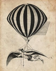 Steampunk Wall Decor Print - French Aerialist, Wall Art, Flying Machine, Vintage, Hot Air Balloon, Fly, Aviation, Circus, Flying