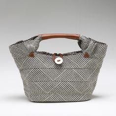 テープブレードミニトートバッグ(グレー) Link no longer works, but love this webbing bag with leather trim and button closure.