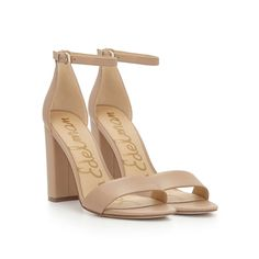 c98a3e11d09 Yaro Ankle Strap Sandal by Sam Edelman - Classic Nude Leather -  120 Black  Leather Heels