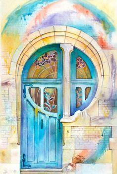 Ukrainian Artist Travels The World Painting Doors In Watercolor ...