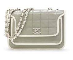 A GREY AND WHITE PATENT LEATHER SINGLE FLAP BAG vintage Chanel at Christies online auction