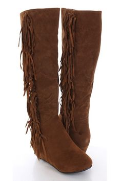 Fashionable boots are a must in any girls wardrobe, just pair these hot boots with your next ensemble. Featuring a faux suede upper, almond toe, fringe detail, stitched, smooth lining, mid calf length, side zipper closure, and cushioned foot bed. Approximately 15 inch Shaft 16 inch Circumference 1 1/2 inch Heel.