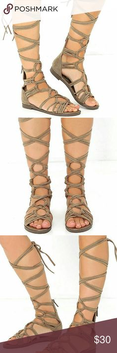 """NWOT Taupe Tall Suede Lace Up Gladiator Sandals Peep toe, VEGAN suede knots and crosses up to long laces that wrap and tie around the leg. 5"""" zipper at back, 0.5"""" rubber heel, cushioned insole, nonskid rubber sole. All vegan friendly, man made materials. Never worn. Shoes Sandals"""