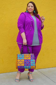 Look of Plus Size Royal Purple Suit – Estrella Fashion Report Plus Size Suits, Plus Size Women, Brother In Law Gift, Striped Sandals, Purple Suits, In Law Gifts, Purple Jacket, Stretch Fabric, What To Wear