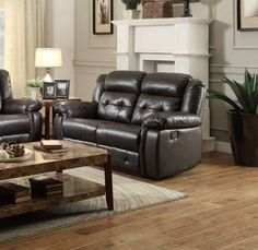Palco Modern Dark Brown Faux Leather Double Reclining Loveseat