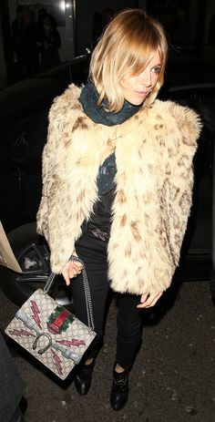 Sienna Miller's Got a Brand-New Bag — Vogue Kylie Minogue, Marilyn Manson, Metallica, Sienna Miller Style, Leopard Coat, New Bag, Style Icons, Celebrity Style, Celebrity Dresses