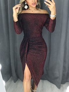 27eccc9cc97 Glitter Ruched Thigh Slit Party Dress 8th Grade Formal Dresses