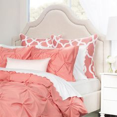 Bedroom inspiration and bedding decor   The Valencia Coral Pintuck Duvet Cover   Crane and Canopy