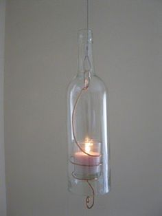Hanging Wine Bottle Candles Lamps & Lights Recycled Glass
