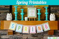 Grab my free spring printables banner and some colorful cheer to your space! Spring Banner, Holiday Banner, Free Printables, Banners, Frame, Diy, Easter, Color, Board