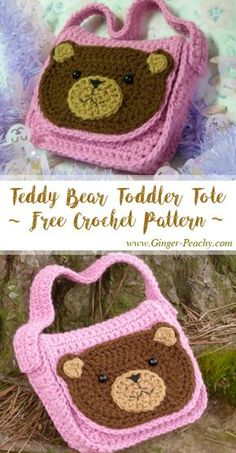 Teddy Bear Toddler Tote | Free Crochet Pattern at Ginger-Peachy.com