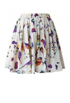 Birds Print Skater Skirt