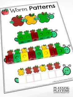 Create Apple Worm Patterns *Try making your own! - Apple Worksheets Preschool