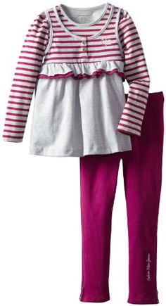 Calvin Klein Girls 2-6X Stripes Tunic with Leggings 4-6X, Deep Berry Stripe, 6 #valentine #gifts #sale